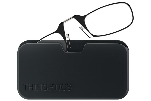 ThinOPTICS Reading Glasses with Universal Pod Case Bundle ReadingGlasses - Black