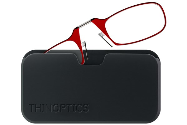 ThinOPTICS Reading Glasses with Universal Pod Case Bundle ReadingGlasses - Red