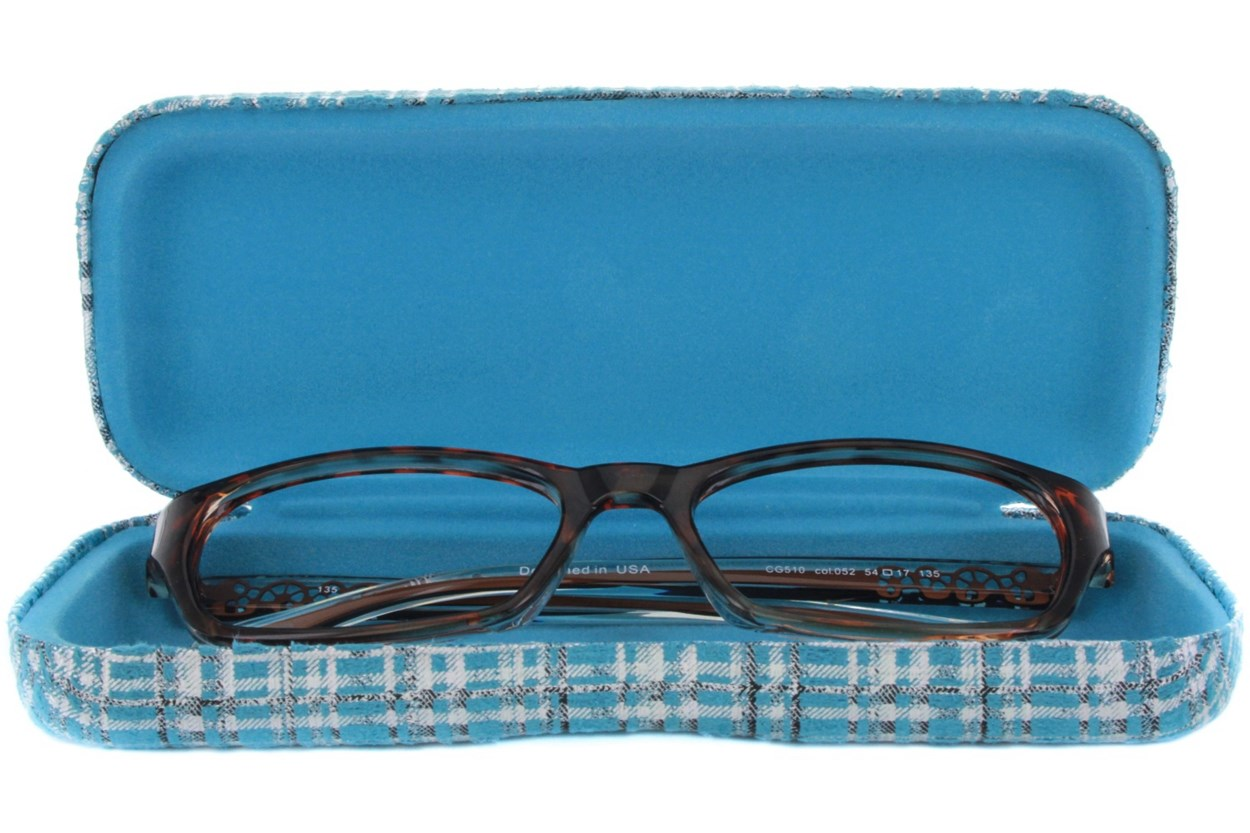 Alternate Image 1 - CalOptix Silver Plaid Eyeglass Case 50 - Turquoise