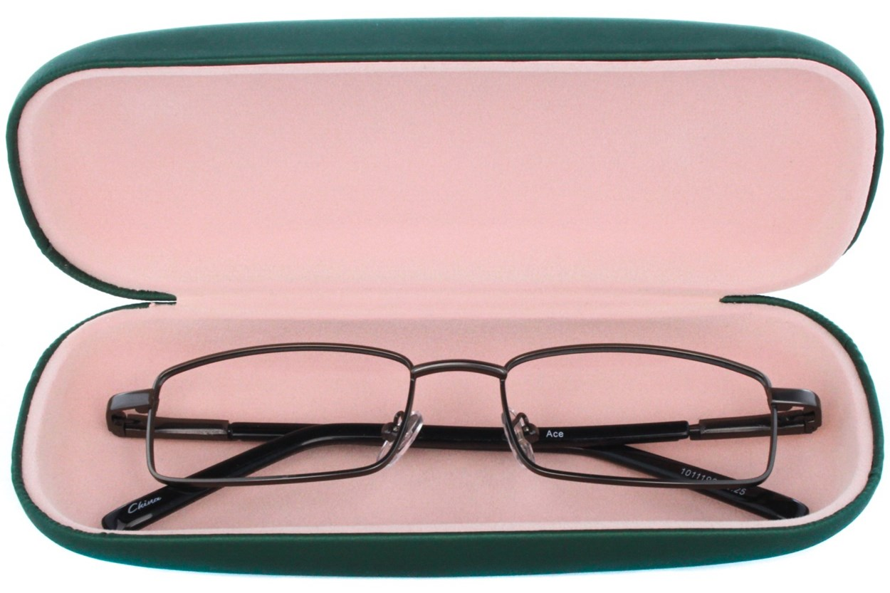 Alternate Image 1 - Amcon Protective Clam Eyeglasses Case Colors GlassesCases - Green
